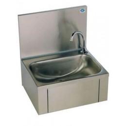 Lave-mains inox avec cuve rectangulaire et dosseret.