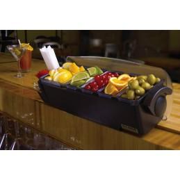 Unité de présentation d'aliments avec support pailles : exemple d'utilisation sur un bar