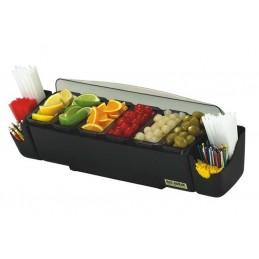 Unité de présentation d'aliments avec 6 bacs et support pailles