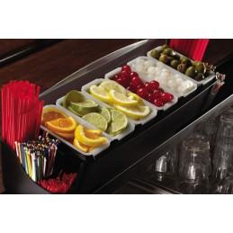 Unité de présentation d'aliments avec 6 bacs et support pailles : mise en situation sur un comptoir de bar