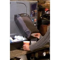 Distributeur de serviettes sur pied à pli mini noir transparent en situation sur un comptoir