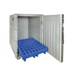 Conteneur isotherme cargo Line 1350 litres sur cadre palette porte ouverte.
