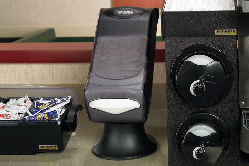 Distributeur de serviettes sur pied à pli mini noir transparent
